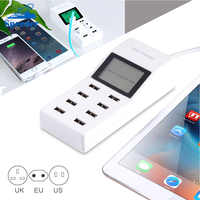 8 Ports USB Power Adapter 5V 8A Smart Wall Charger with Adapter Plug & LCD Display for Mobile Phone Tablets US/EU/UK Plug Socket