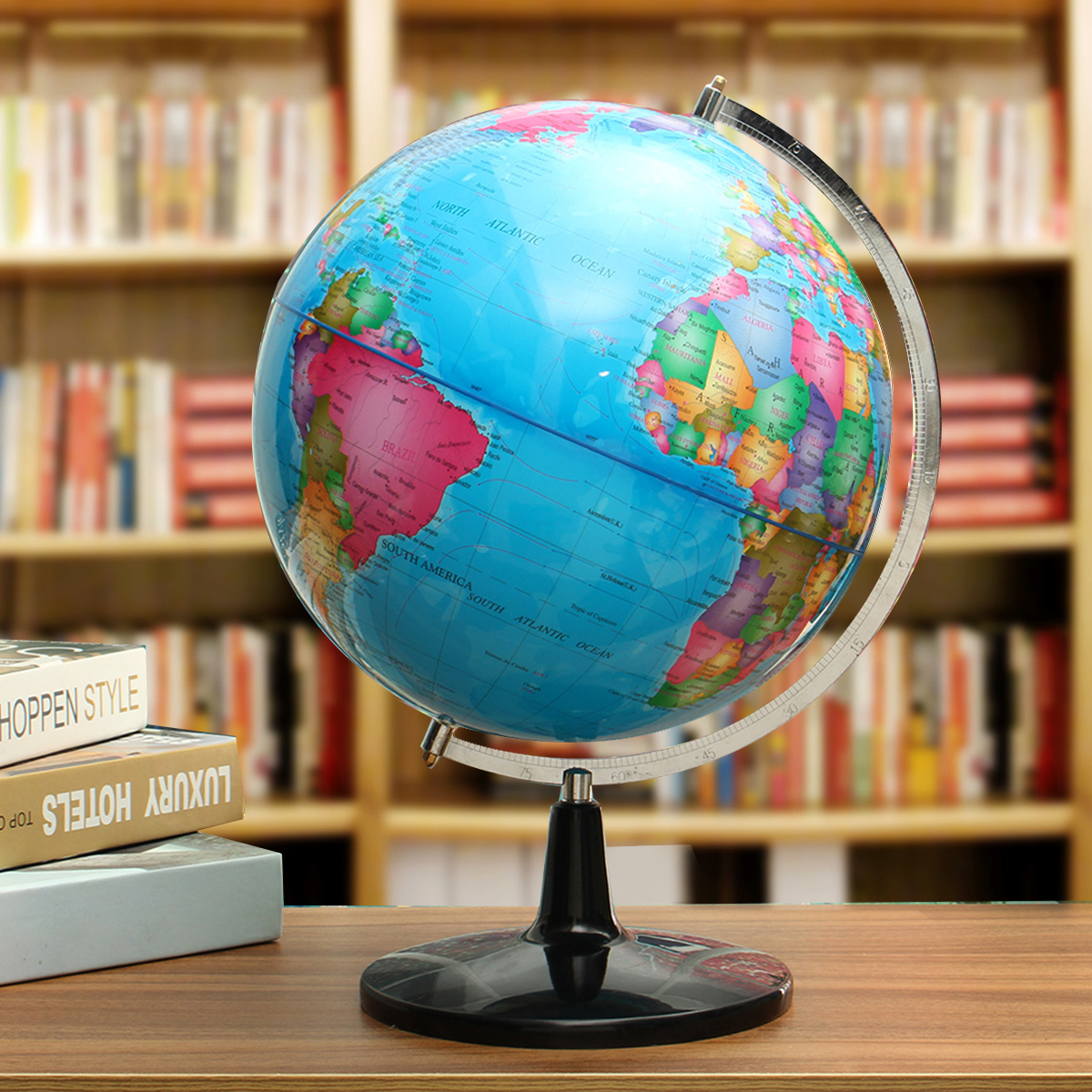 32CM Big Large Rotating Globe World Map With Stand Earth Geography School Educational Tool Home Office Ornament Gift