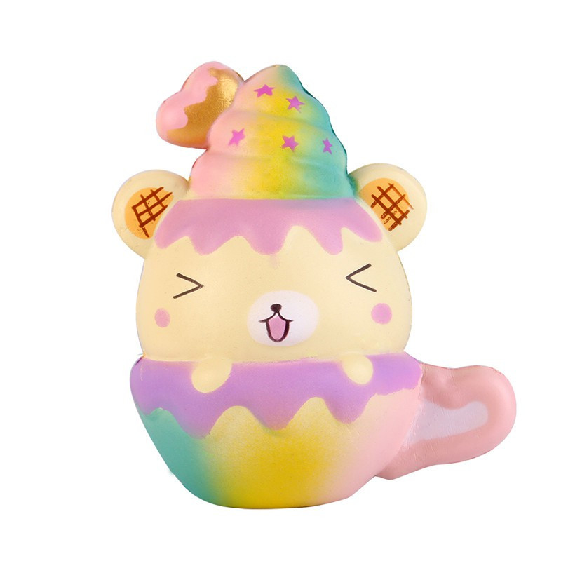 Cute Star Rainbow Cartoon Bear Cup Squishy Slow Rising Jumbo Straps Soft Squeeze Scented Bread Cake Scented Gift Kid Fun Toy