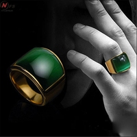 NFS Green Glass Stainless Steel Punk Gothic Men RingNever Fade Retro Domineering S Eye Yellow Gold