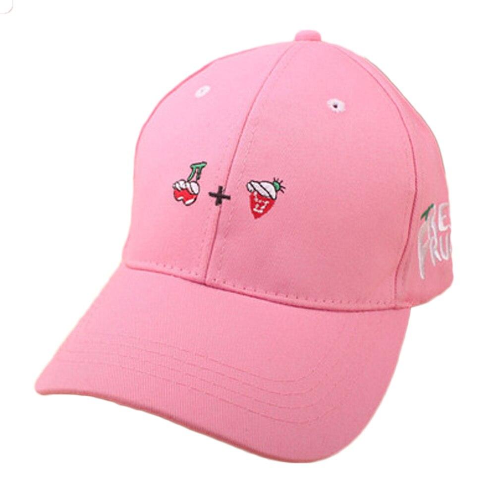 267e6d0b2 US $3.75 |New Spring Leisure Fresh Fruit Embroidery Hat Strawberry Banana  Cherry Orange Peach Baseball Cap For Women Men-in Men's Baseball Caps from  ...