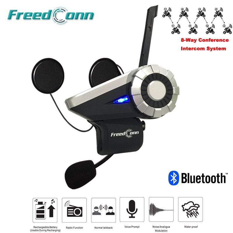 Freedconn T-Rex Full Duplex 1500 M 8-Way Moto Groupe Parler Système BT Interphone FM Radio Bluetooth Casque Interphone casque