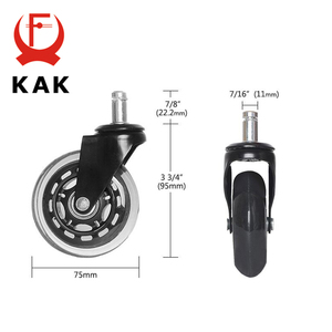 "Image 2 - 5 قطعة KAK 3 ""العالمي كتم عجلة عجلة كرسي مكتب استبدال 60 كجم عجلات المطاط لينة آمنة الأسطوانة الأثاث عجلة الأجهزة"