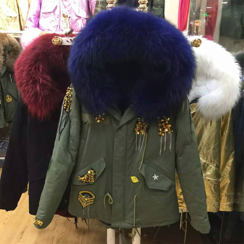 New Design Fashion Beading Style Army Green Jacket with Dark Blue Fur Coat