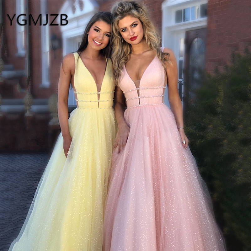 Glitter Pink Yellow Prom Dresses 2019 A-Line Deep V-Neck Tulle Long Prom Gowns Women Formal Evening Party Dress Robe De Soiree