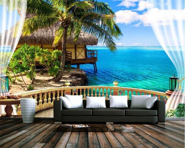 Beibehang Kustom Wallpaper 3D Stereo Pantai Balkon