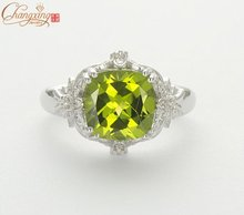 Solid 14ct White Gold 3.85ct Natural Green Peridot & Diamond Engagement Ring
