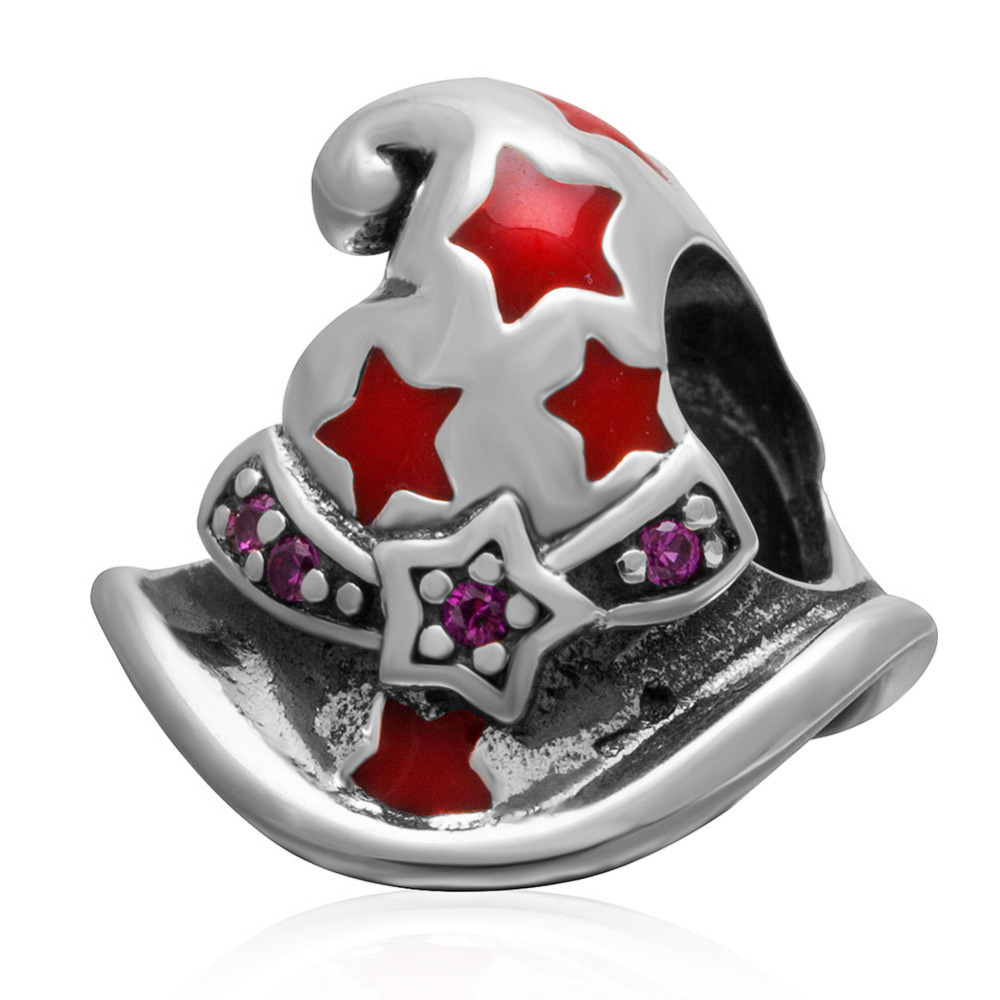 Authentic 100% 925 sterling silver Red Enamel Magic Hat Chrams DIY Beads Fit Pandora charm Bracelets Fashion Jewelry