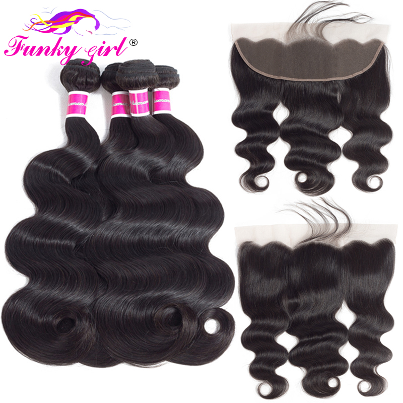 3/4-Bundles Closure Frontal Human-Hair Body-Wave Funky Girl Peruvian With Non-Remy