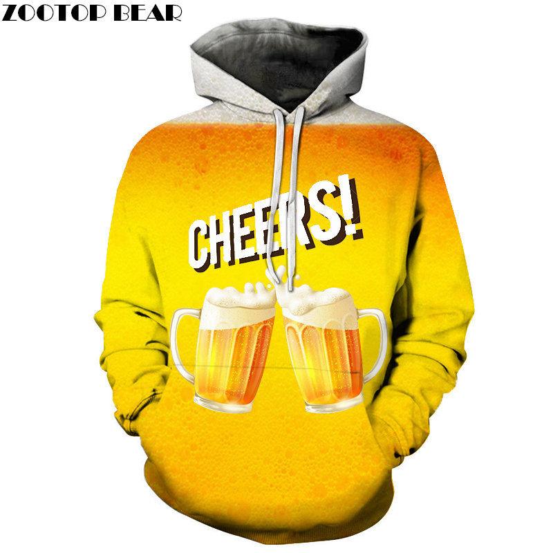 NEW Couples Clothes Beer Mens StoutHoodies Casual Brand Tracksuits 3d Pullover Streetwears Sleeve Sweatshirt DropShip ZOOTOPBEAR
