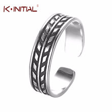 Kinitial Feather Ring 925 Sterling Silver Wheat Rings Men Vintage Men Geometry Silver Open Jewelry Bijoux Wholesale(China)