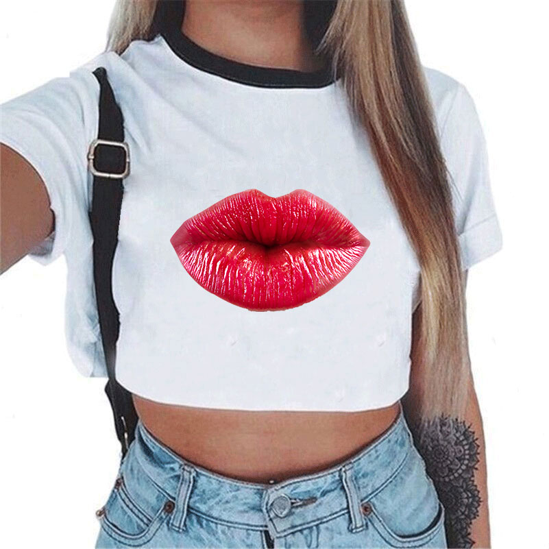 2019 Fashion Vintage <font><b>Bow</b></font> <font><b>T</b></font> <font><b>Shirt</b></font> Women Tops Print White <font><b>T</b></font>-<font><b>shirt</b></font> Female Summer Crop Top Tshirt Sexy Tees Cropped image