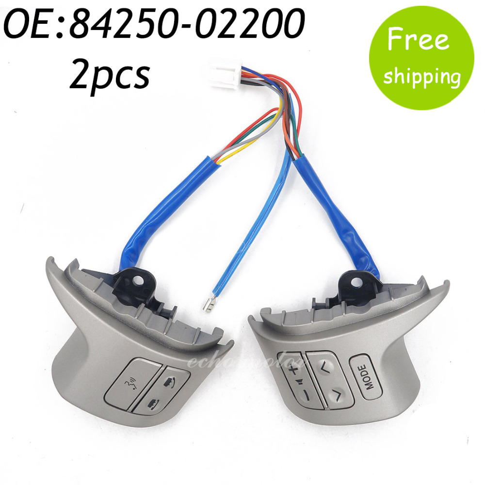 New 2PCS 84250-02200 Bluetooth Steering Wheel Audio Control Switch For Toyota Corolla 2006-2013 8425002200 steering wheel audio control switch for toyota camry highlander hilux vigo grand new quality audio buttons