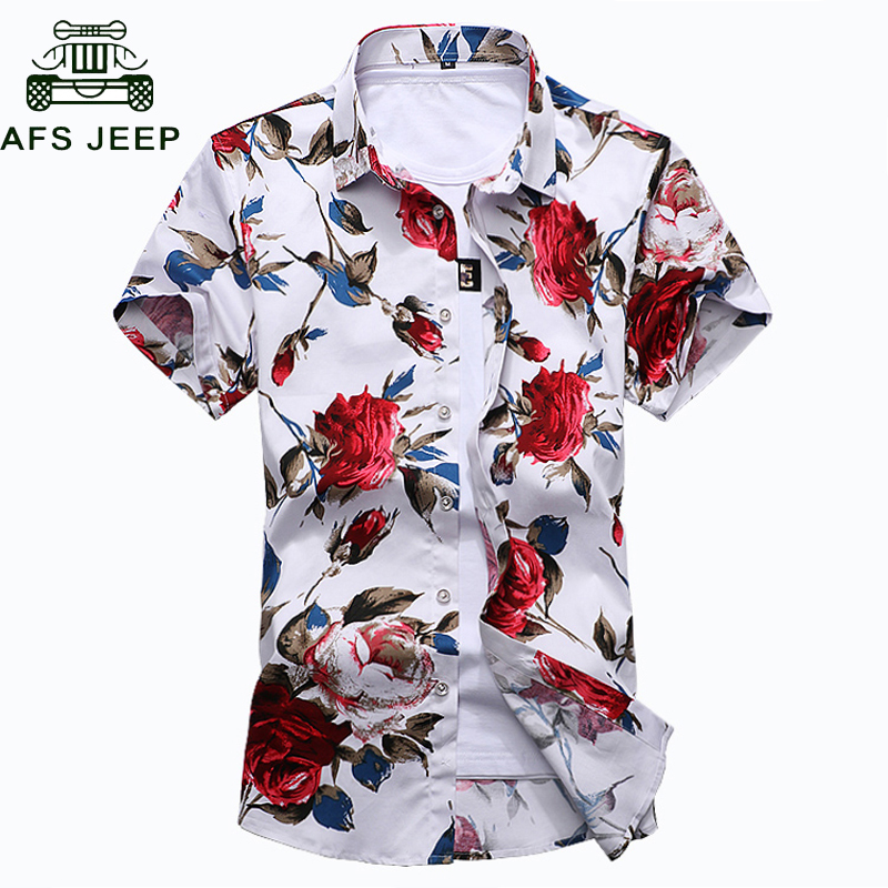 b54a6ee46f08ef Brand Men's Shirt 2018 New Floral Printing Mens Shirts Short Sleeve Plus  Size M-7XL Comfortable Flower Print Shirt Men Camiseta