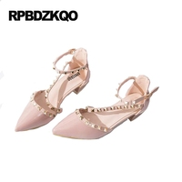 High Heels Cheap Sandals Pointed Toe Famous Size 4 34 Patent Leather Rivet Low Pumps Thick