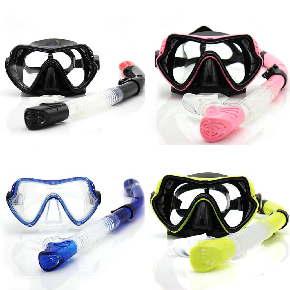 Professional Scuba Diving Mask Snorkel Anti-Fog Goggles Glasses Set Silicone Swimming Fishing Pool Equipment 4 Color Adult Kids
