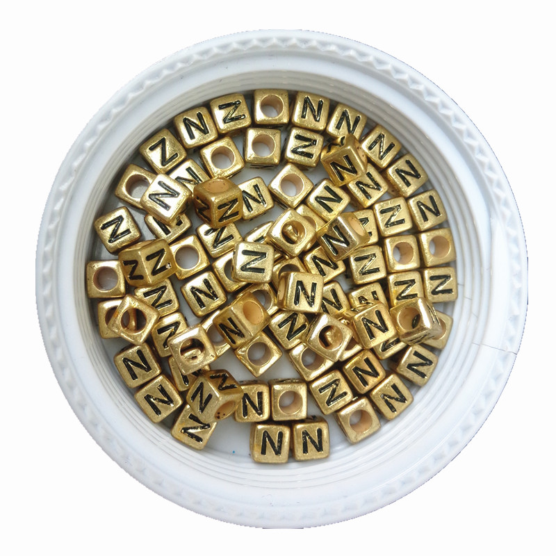 Beads Jewelry & Accessories 500pcs 2600pcs 6*6mm Gold Color Acrylic Plastic Letters Beads Single English Character Initial Z Printing Jewelry Pacer Beads