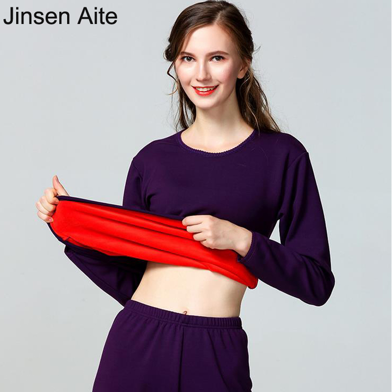 Jinsen Aite 2019 Winter Fleece Thick Warm Long Johns For Women O-neck Autumn Ladies Thermal Underwear Suit Female Clothing JS657