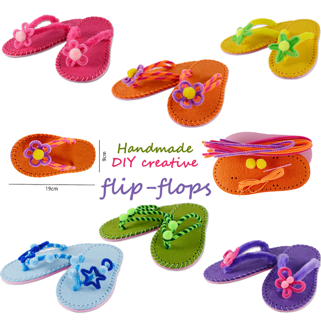 8785db14d Kids Sewing flip-flops Kit for Girls Beginners My First Sewing Kit Handmade  Fabric Shoes
