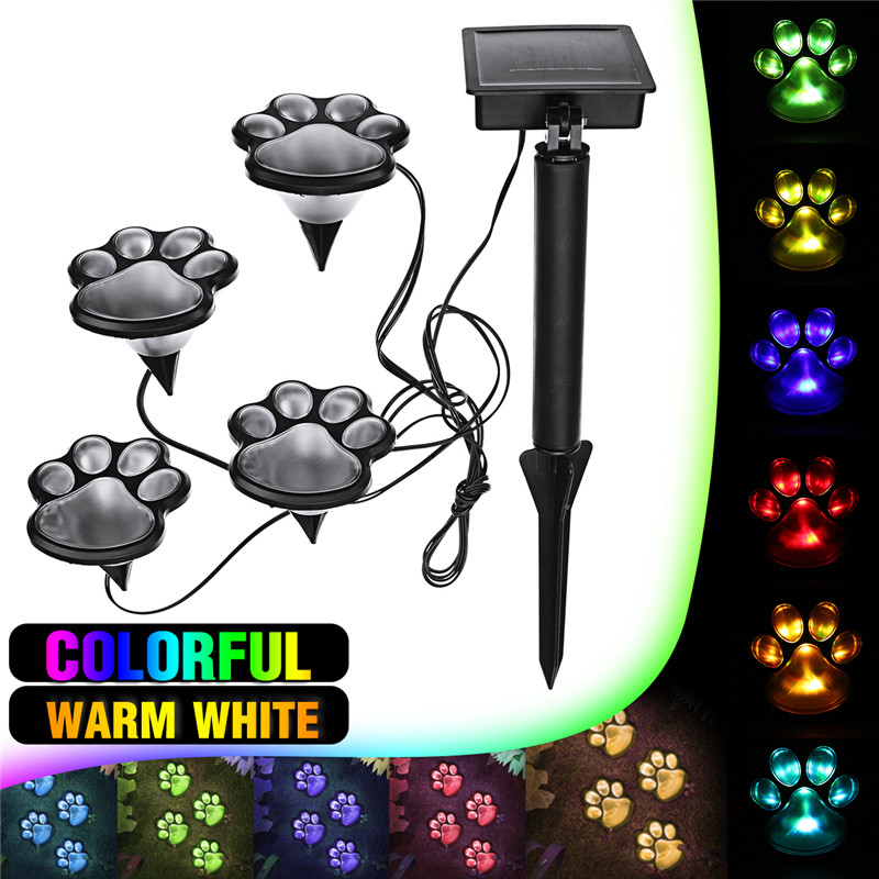 2V Dog Animal Paw Print Decorative Lights 4 LED Outdoor Garden Lamp Landscape Decorative LED Lights ...