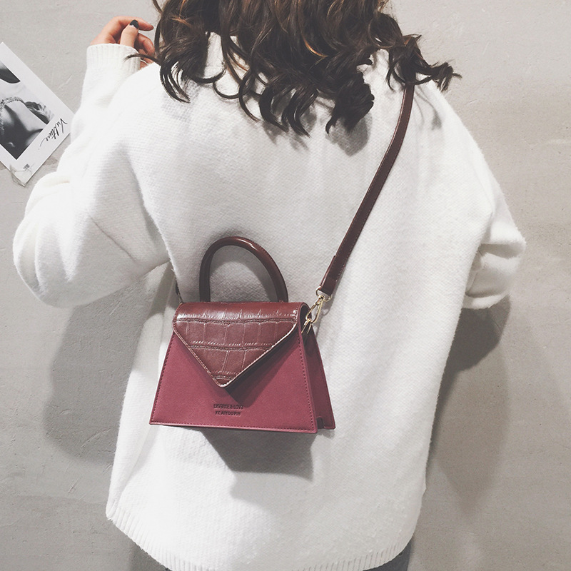 New Fashion Women Bag Small Flap Panelled Vintage Girls Bags  Black PU Leather Women Messenger Bags Free Gift Drop Shopping