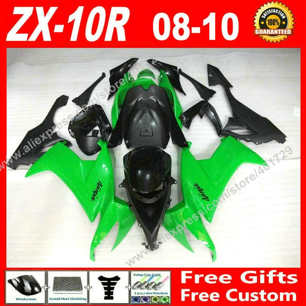 ABS пластик Обтекатели, пригодный для Kawasaki ниндзя ZX-10r с 08 09 10 ZX10 зеленый черный 2008 2009 2010 ZX10R обтекателя комплект 7 подарок VT92