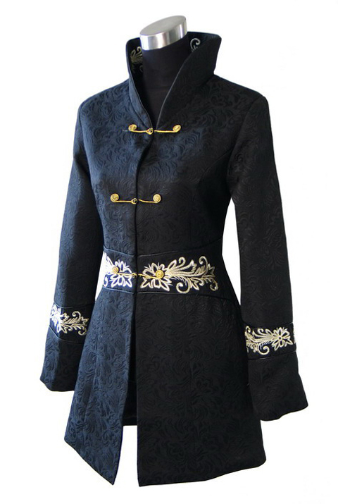 Black Chinese Women Winter Cotton Coat Thick Warm Jacket Handmade Button Overcoat Long Sim Outwesr S