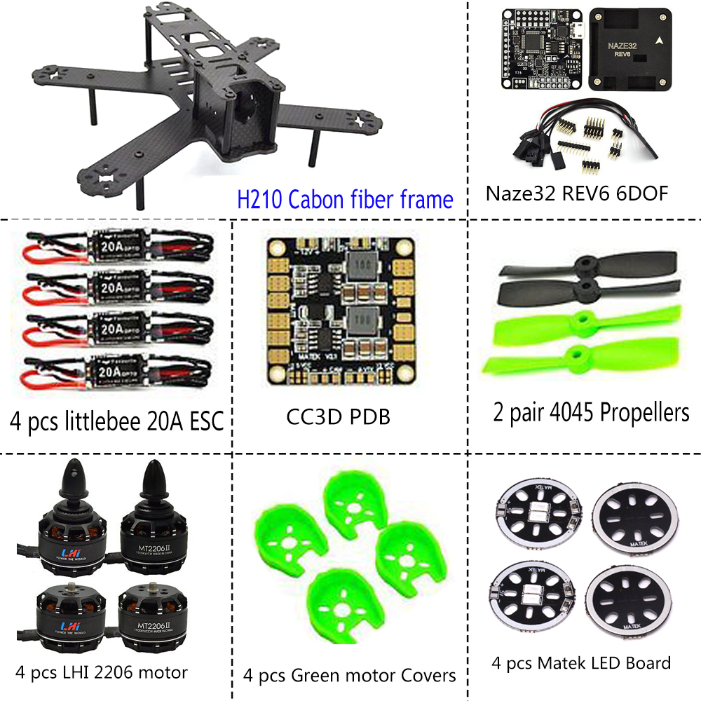 ARF 210mm Pure Carbon Fiber Frame + NAZE32 REV6 6 DOF 1900KV LittleBee 20A 4050 original naze32 rev6a mpu6500 32 bit 6 dof 10 dof flight controller for multicopter