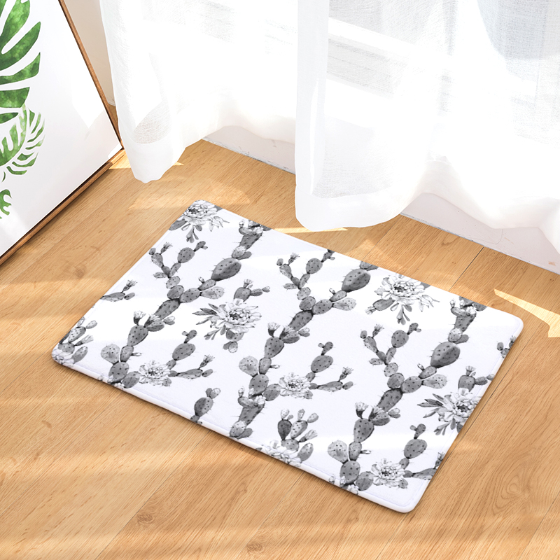 1pcs 40*60cm tropical cactus monstera pattern anti slip suede carpet1pcs 40*60cm tropical cactus monstera pattern anti slip suede carpet door mats doormat outdoor kitchen room floor mat rug in mat from home \u0026 garden on