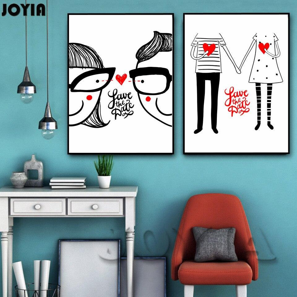 Casal Menino Menina Dos Desenhos Animados Da Arte Da Lona Cartaz  ~ Quarto Com Desenhos Na Parede E Quarto De Menina E Menino