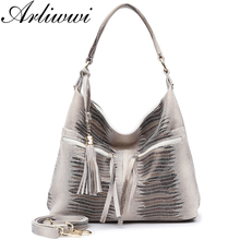 Arliwwi Multi Zipper Pockets Genuine Suede Cow Leather Big Shoulder Bags For Female Large Roomy Shiny Embossed Tote Handbag GB11