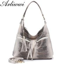 Arliwwi Multi poches à glissière en cuir de vache en daim véritable grands sacs à bandoulière pour femme grand sac à main fourre tout en relief brillant spacieux GB11