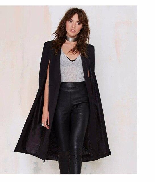 2016 Осень Женская Мода 3 Цвета Открытым Стежка Плащ Пончо Плащи Outwears Пальто
