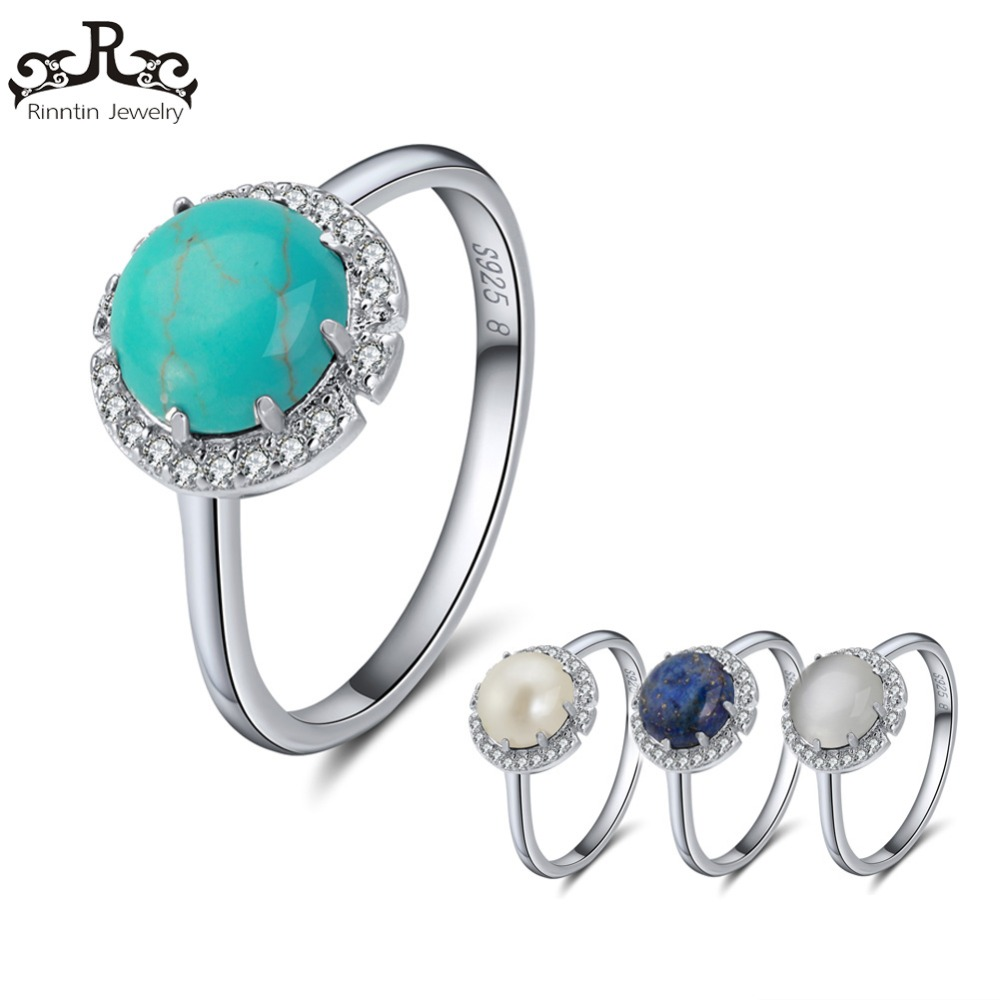 Rinntin Women Rings 100% Pure Sterling Silver With 4 Colors Main Stone AAA Shiny Zircon Female Ring Party Fine Jewelry TSR55