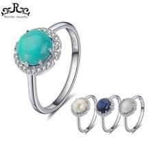 Rinntin Kvinnor Ringar 100% Pure Sterling Silver Med 4 Färger Huvudsten AAA Shiny Zircon Kvinnliga Ring Party Fina Smycken TSR55