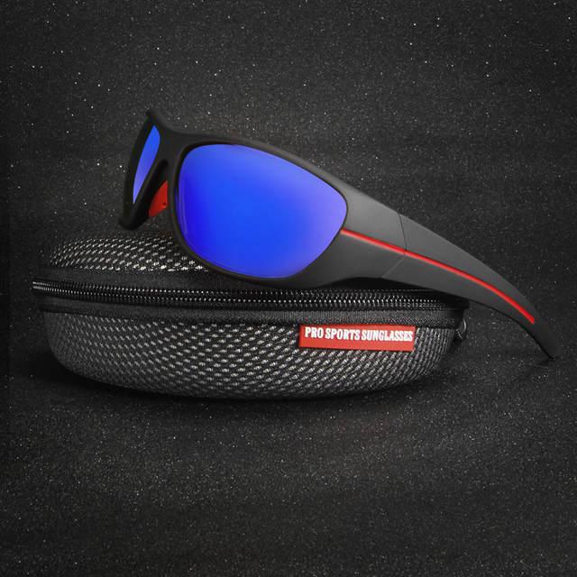 9249d6550b9 Online Shop QUESHARK Men Polarized Fishing Sunglasses Black Uv Protection  Camping Hiking Goggles Red Lens Sports Glasses Bike Eyewear