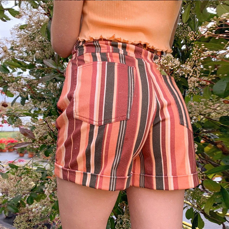 Harajuku Rainbow Striped Shorts Women Summer Streetwear High Waist Bohemian Bottoms Shorts Casual Outwear
