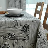 WINLIFE Black And White Wood Stripes Tablecloth Cotton Canvas Table Cloth Black And White Table Cover