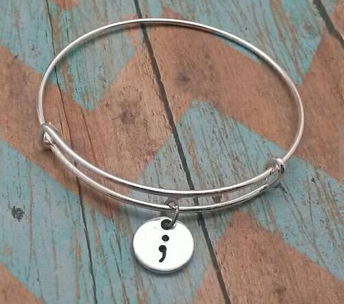 Hot Semicolon Awareness Bracelet Hand Stamped Self Harm Bangles Jewelry Ylq0340 In From Accessories On