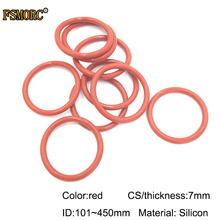 7 мм Толщина силиконового каучука уплотнительное кольцо ID 101~ 450 мм красные термостойкие уплотнительные прокладки/пищевые уплотнения без яда