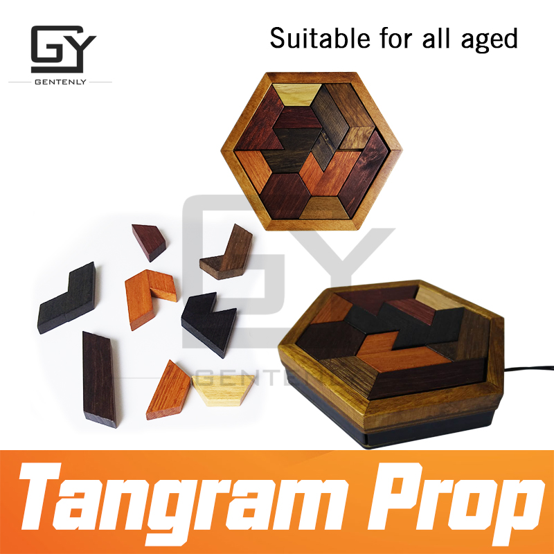 US $46 8 10% OFF|Escape room prop Tangram Prop real life room escape game  finish jigsaw puzzles to unlock secret chamber room design by GENTENLY-in