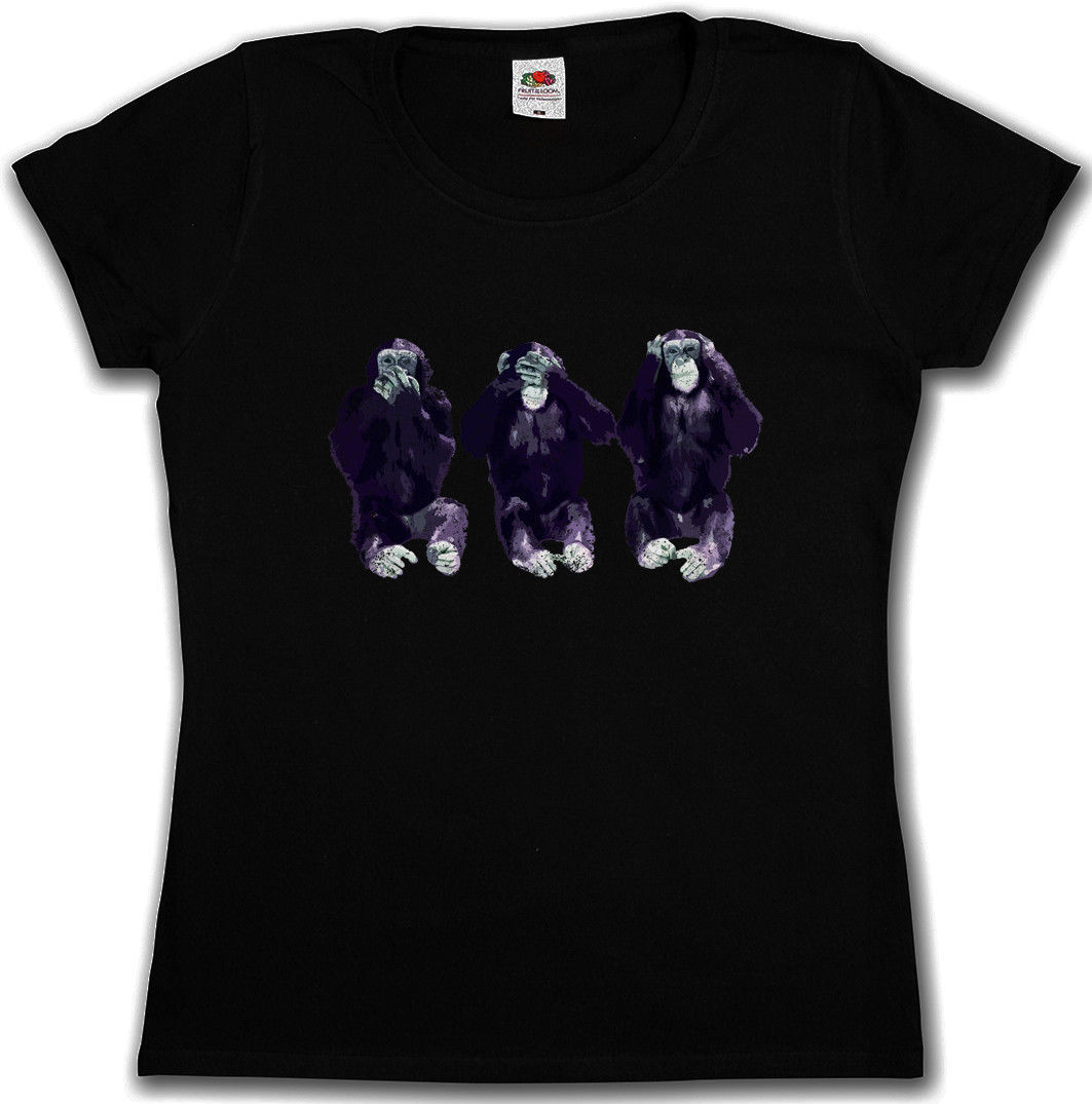 Summer 2017 Cotton T - shirts SEE NO HEAR NO SPEAK NO APES GIRLIE WOMAN T-SHIRT - Mafia Gorilla Woman T-Shirt