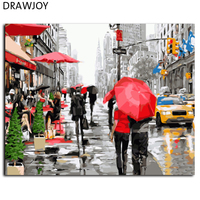 New Frameless Wall Art Pictures Painting By Numbers Of City Realist DIY Canvas Oil Painting Home