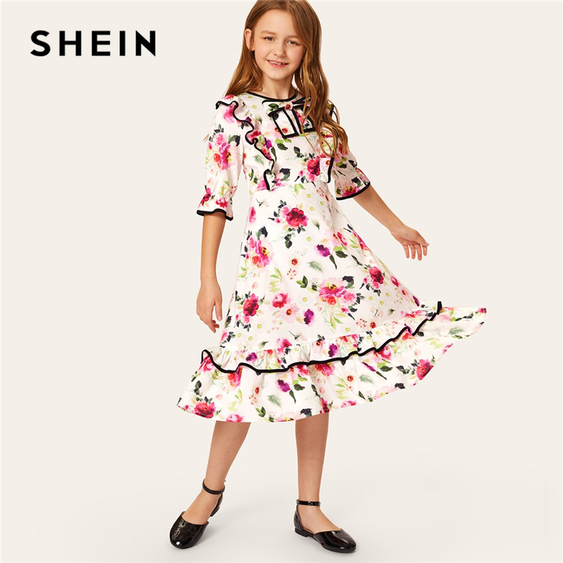 SHEIN Kiddie Floral Print Bow Front Ruffle Hem Girls Holiday Dress 2019 Summer Cute Half Sleeve High Waist Flared Midi Dresses camo print dip hem top