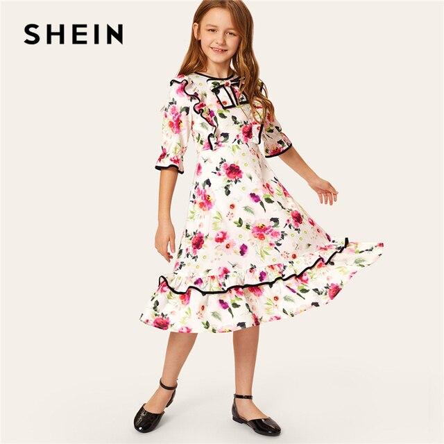 SHEIN Kiddie/праздничное платье с цветочным принтом и бантом спереди и оборками для девочек 2019 г. летние милые расклешенные миди платья с короткими рукавами и высокой талией