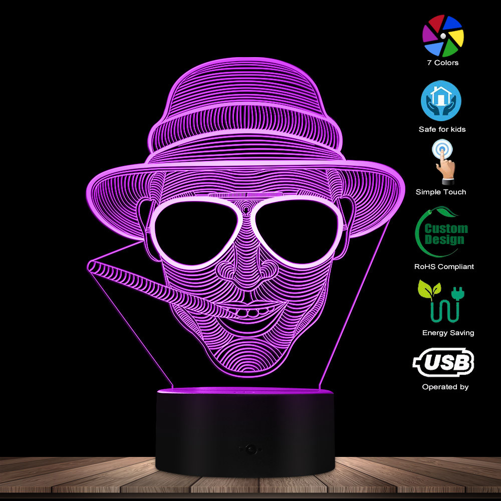 Steampunk Man In Hat 3D Optical Illusion Night Lamp Smoking Gentleman Glowing LED Lights Cigar Smoking Man Portrait Cave Lamp