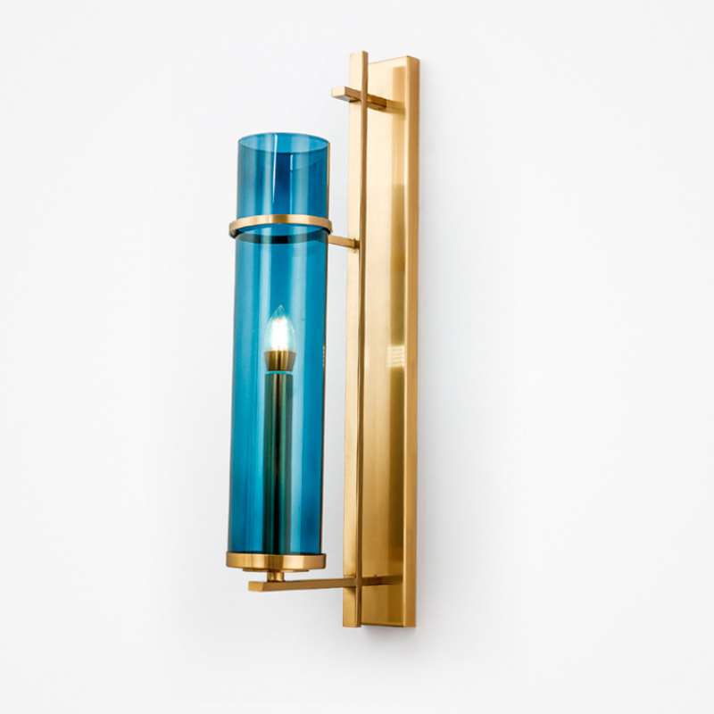 Modern Blue Glass Lampshade Wall Sconce Parlor Bedside Led Wall Lamp E14 110V/220V Home Art Decoration TV Background Wall LightModern Blue Glass Lampshade Wall Sconce Parlor Bedside Led Wall Lamp E14 110V/220V Home Art Decoration TV Background Wall Light