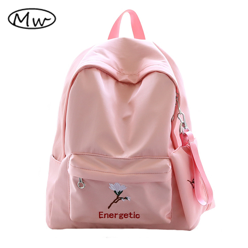 Moon Wood Women Pink Backpack 2 Pcs Set Waterproof Fresh Style Embroidery Flowers Backpack School Bags