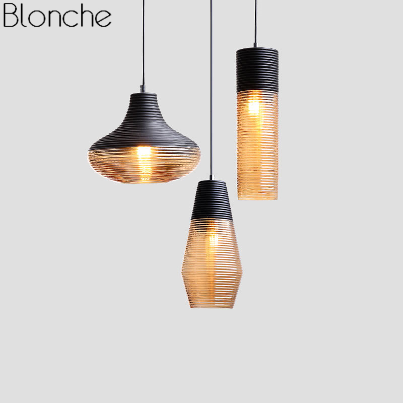 Vintage Glass Pendant Lights for Living Room Bedroom Lamp Loft Industrial Home Decor Nordic Led Hanglamp Kitchen Light Fixtures loft nordic vintage industrial decor black hanglamp hanging design fixtures lamp pendant lights for dining room kitchen lighting