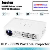 Zeroten DLP 800W портативный проектор 300 ANSI 1280*800 1080 P Android 4.4.4 WiFi Bluetooth 4,0 мультимедийный домашний кинотеатр плеер